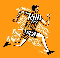 Running man or sportsman. Sport, fitness poster. Typographic design, vector illustration