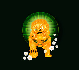 Lucky Symbols with Gold Foo Fu Lion Dog on Green Background
