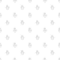 Snowman background from line icon. Linear vector pattern