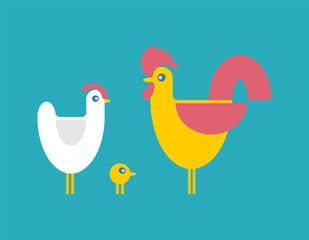 Chicken and rooster and chicken. bird farm set. Vector illustration