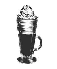 Vector engraved style illustration for posters, decoration and print. Hand drawn sketch of coffee latte in monochrome isolated on white background. Detailed vintage woodcut style drawing.