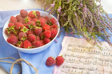 berries of a raspberry, breakfast, good morning, good mood, raspberry and notes