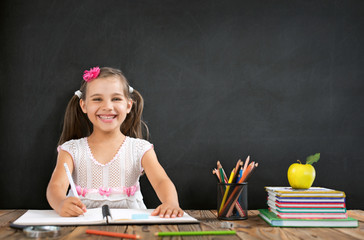 Back To School Concept, Happy Smiling Child Student Studying