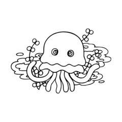 Jelly Fish cartoon illustration isolated on white background for children color book