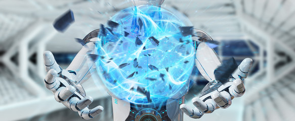 White man robot creating energy ball 3D rendering