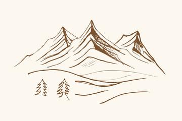 Pejzaż ze szczytasmi górskiemi