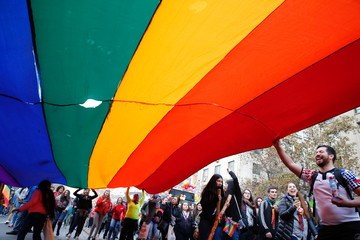 People take part in a gay pride parade to demand for a new law for gender equality, according to organisers, in Santiago