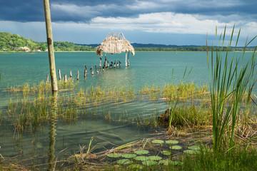 Abandoned dock along the lake shore with birds, El Remate, Peten, Guatemala