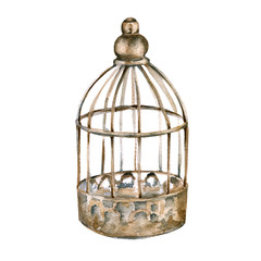 Vintage cage for the bird. isolated on white background.