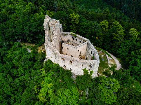 Aerial view from drone to the ruins of old medieval castle Spesbourg, Alsace