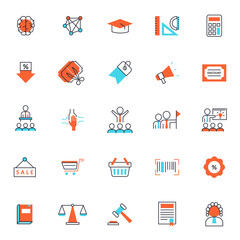 set of popular business or finance icon, with simple thin line and editable stroke, use for web and presentation pictogram asset , website, marketing, ecommerce, startup, outline, organization, retro