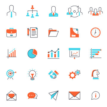 set of popular business or finance icon, with simple thin line and editable stroke, use for web and presentation pictogram asset , website, marketing, ecommerce, startup, outline, social media,