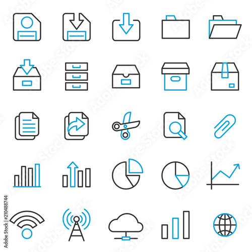 Simple Set of Basic UI - UX Software Related Vector Line