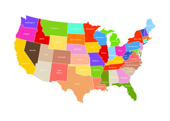 United States Of America Map. USA Vector Colorful