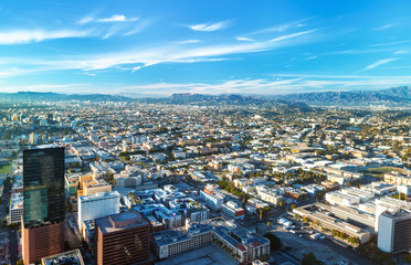 Aerial view of Downtown Los Angeles, CA in the morning