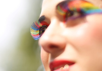 A reveller poses for a photograph during the Gay Pride Parade, in Mexico City