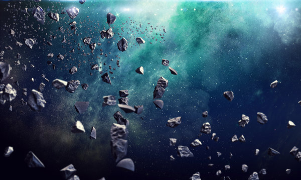 Many asteroids in space