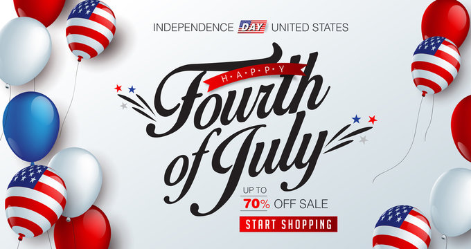 Independence day USA sale promotion banner template american balloons flag and Colorful Fireworks decor.4th of July celebration poster template.fourth of july voucher discount.Vector illustration .
