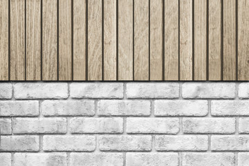 Brown wood fence and stone brick wall background