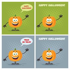 Evil Halloween Pumpkin Cartoon Emoji Character Flat Design Set 3. Vector Collection With Background