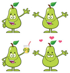 Pear Fruit With Green Leaf Cartoon Mascot Character Set 3. Vector Collection Isolated On White Background