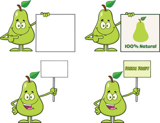 Pear Fruit With Green Leaf Cartoon Mascot Character Set 5. Collection Isolated On White Background