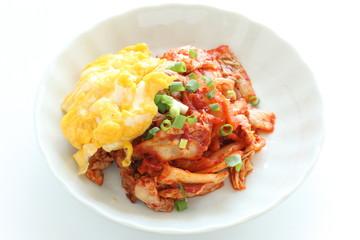 Korean food, kimchi and pork stir fried