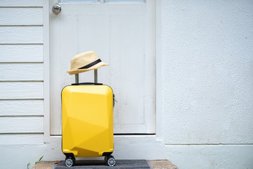 Yellow wheeled bag, Travel suitcase, get ready for adventure travel.