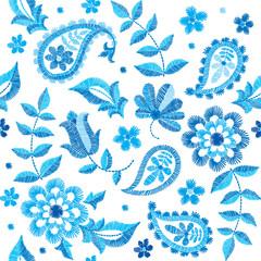 Vector seamless embroidery paisley pattern, decorative textile ornament, pillow or bandana decor. Bohemian style background design.