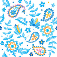 Vector seamless embroidery paisley pattern, decorative textile ornament, pillow or bandana decor. Bohemian style background design.