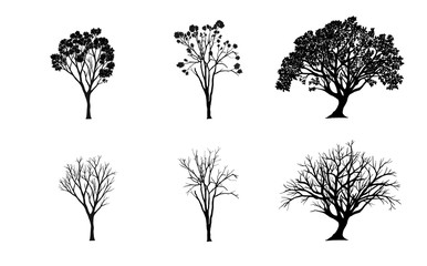 Vector set. tree silhouettes on white background. illustration.