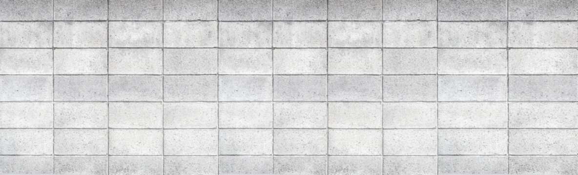 Panorama of Cement block fence pattern and background
