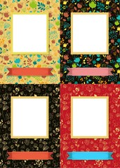 Floral frames for picture with banner for text