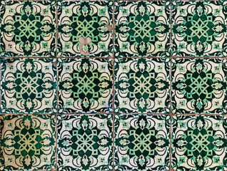 Detail of old traditional ornate portuguese decorative azulejo tiles