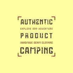 Camping typographic emblem with rough texture for t-shirt