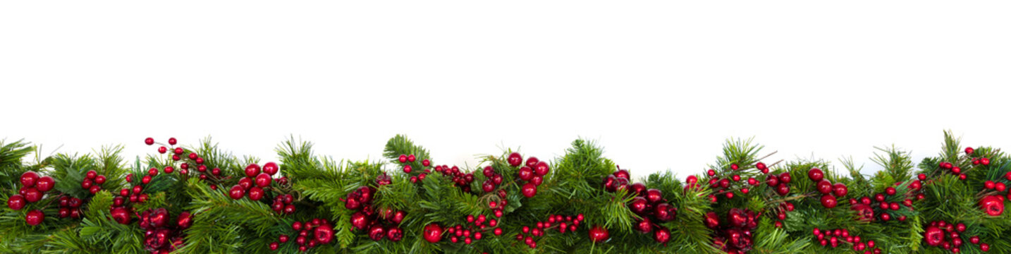 Christmas Garland Border with Red Berries Over White