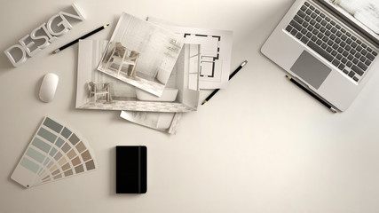 Architect designer concept, white work desk with computer, paper draft, bedroom project images and blueprint. Sample color material palette, creative background idea with copy space