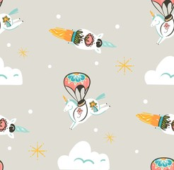 Hand drawn vector abstract graphic creative artistic cartoon illustrations seamless pattern with astronaut unicorns with old school tattoo,stars,parachute and spaceship isolated on pastel background