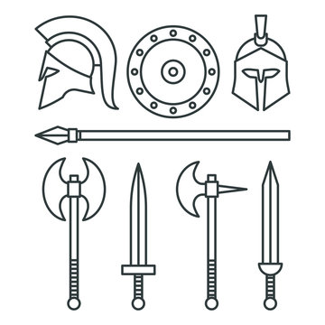Weapons and armor of the Spartans. Swords and axes set. Outline web icon set