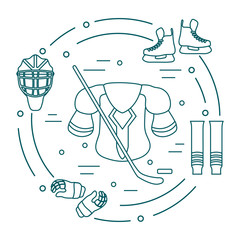 Hockey equipment. Winter sports elements.