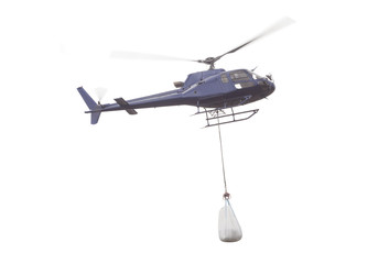Garden Poster Helicopter helicopter with goods load carry isolated on white background