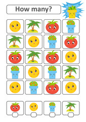 Counting game for preschool children. The study of mathematics. How many characters in the picture. Moon, palm, tomato, flower pot. With a place for answers. Simple flat isolated vector illustration.
