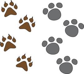 dog paw set isolated on white