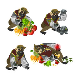 Set fantasy zombie monkey isolated on white background. Vector cartoon close-up illustration.