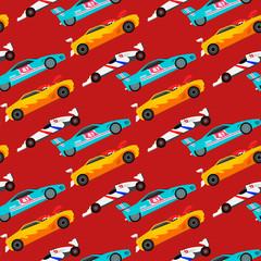 Sport vitesse automobile tout-terrain rallye voiture coloré rapide moteur course auto pilote transport motorsport transparente motif de fond illustration vectorielle.