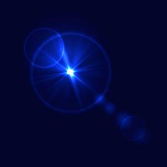 Vector Glare on Dark Blue Background, Underwater Shine.