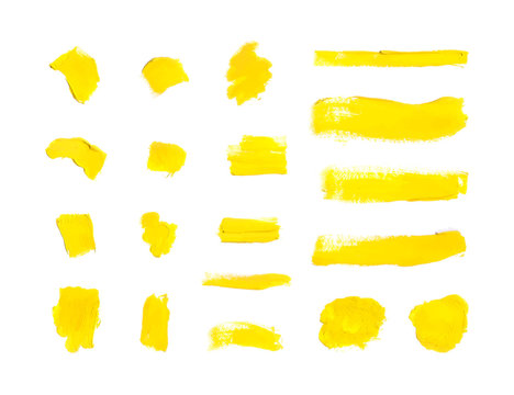 Vector Yellow Paint Strokes Background, Blank Smears Set.