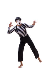 Young mime isolated on white background