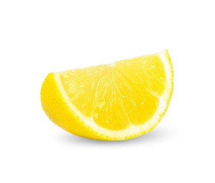 Slice lemon isolated on white clipping path