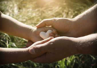 A heart in the hands of a child and an adult man, father and son is holding a heart in the background of nature. Side view